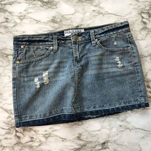Deb - Distressed Mini Denim Jean Skirt - 5